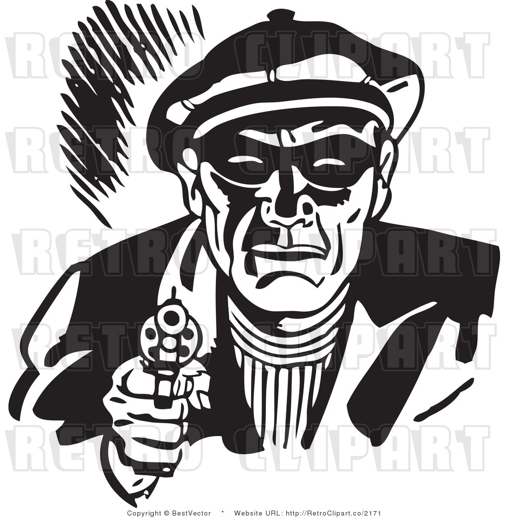 Black And White Robber Clipart