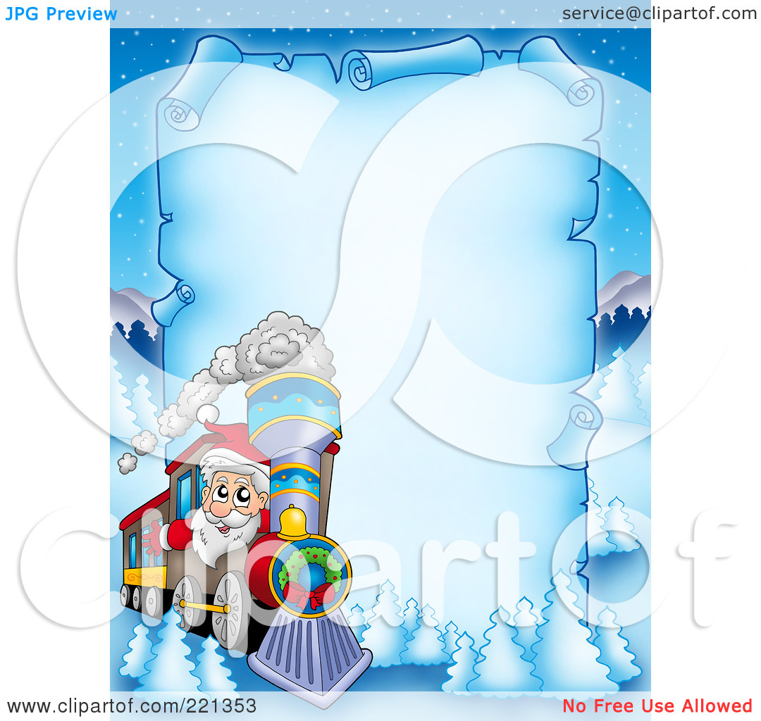 Royalty Free  Rf  Clipart Illustration Of Santa Driving A Train By A
