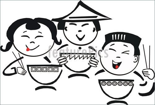 Asian Food Cartoon Illustration
