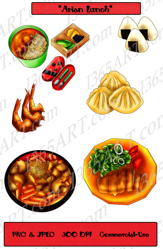 Asian Lunch Clipart Onigiri Fried Shrimp Korean Rice Cakes Fruits