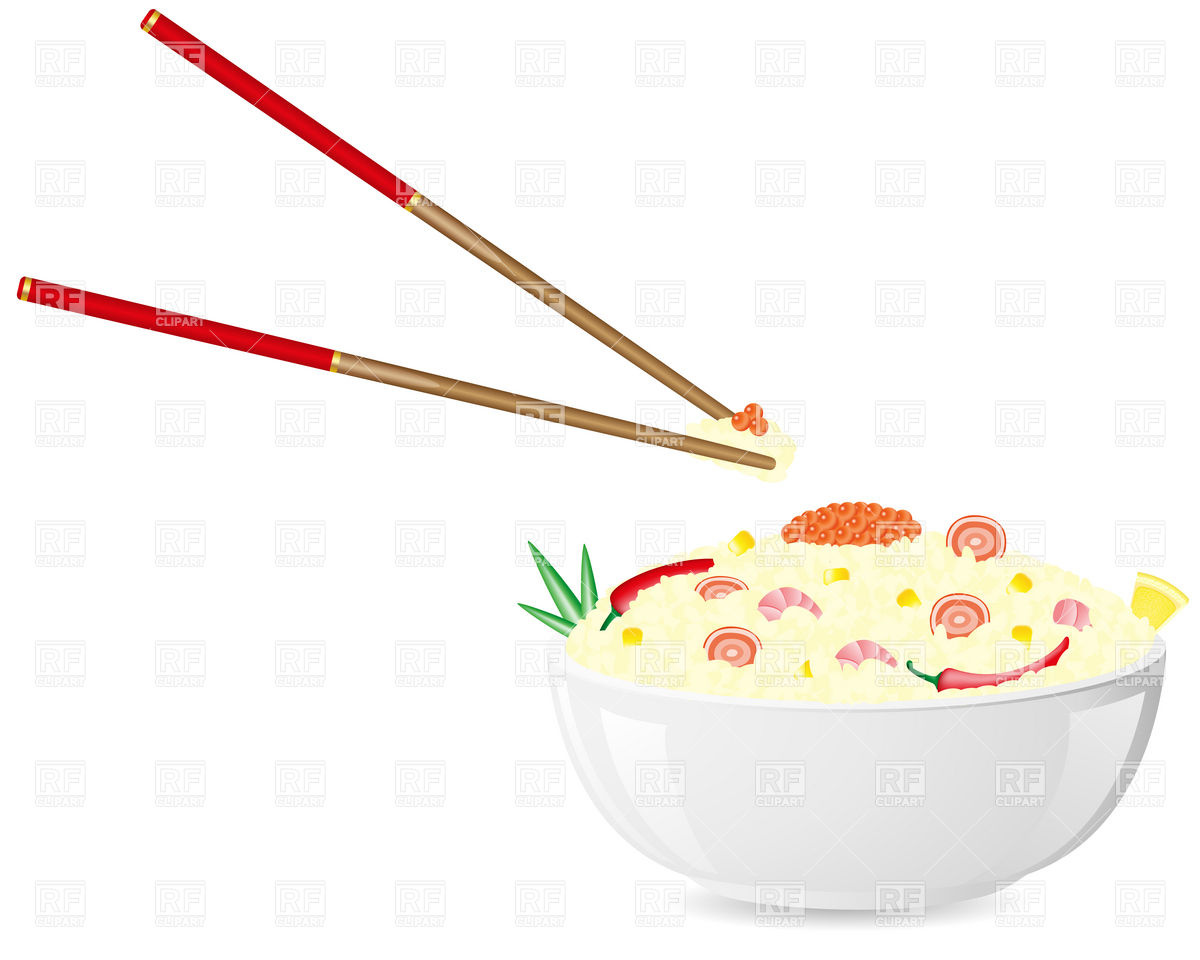 Asian Plate Of Rice With Seafood And Chopsticks 19076 Download