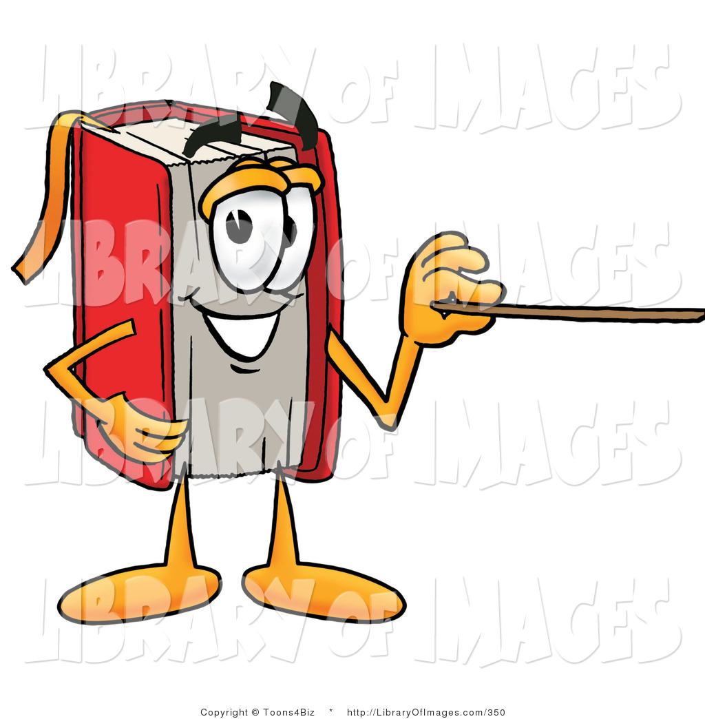 Clip Art Of A Smart Red Book Mascot Cartoon Character Holding A
