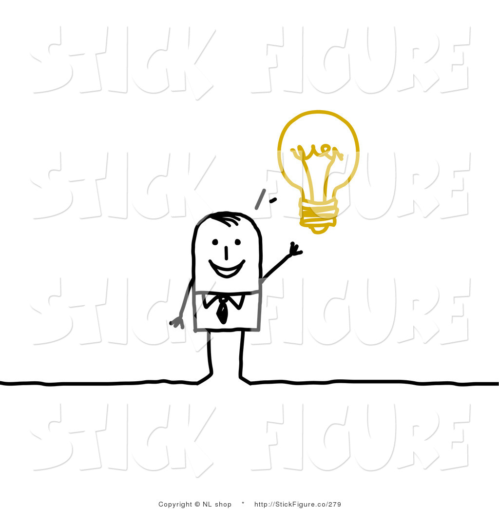 Clip Art Of A Smart Stick Figure Businessman With An Idea Displayed As