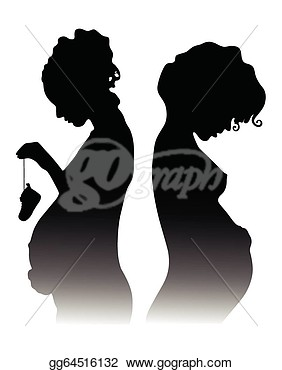 Clipart   Silhouettes Of Pregnant Girls On A White Background  Stock
