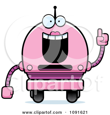 Clipart Smart Pink Robot Girl   Royalty Free Vector Illustration By
