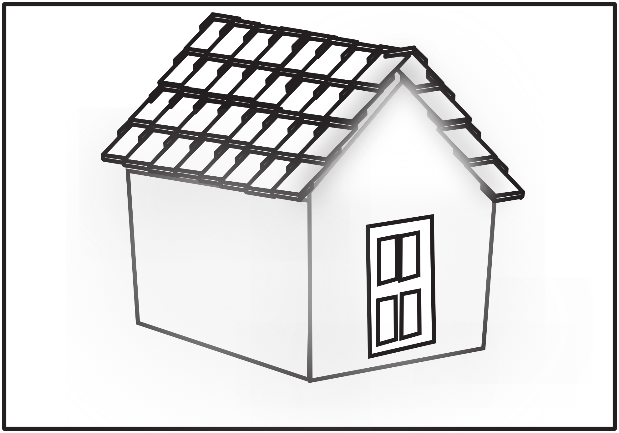 House Tiled Roof Netalloy Black White Line Art Hunky Dory Svg