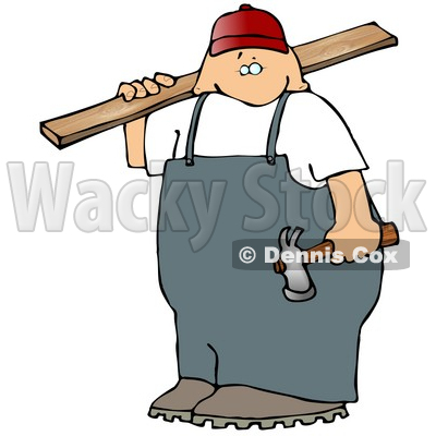 Male Carpenter Man Carrying Plywood And A Hammer Clipart Picture