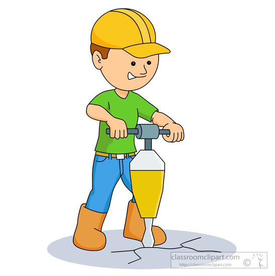 Man Drilling On Ground With Jackhammer   Classroom Clipart