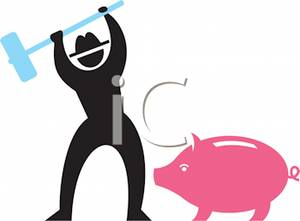 Man With A Hammer About To Break A Piggy Bank   Royalty Free Clipart