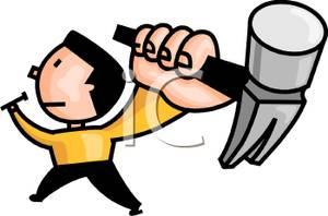 Man With A Hammer And A Nail   Royalty Free Clipart Picture
