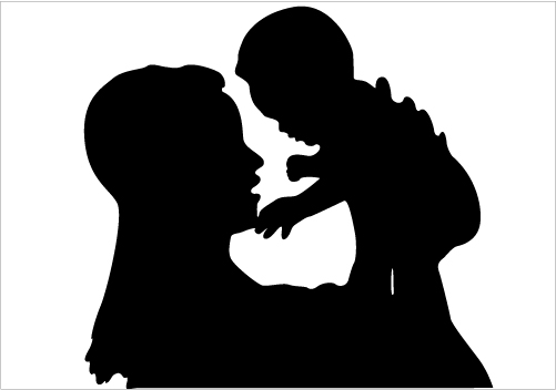 Mother And Child Silhouette Showing Love Vector Download Silhouette