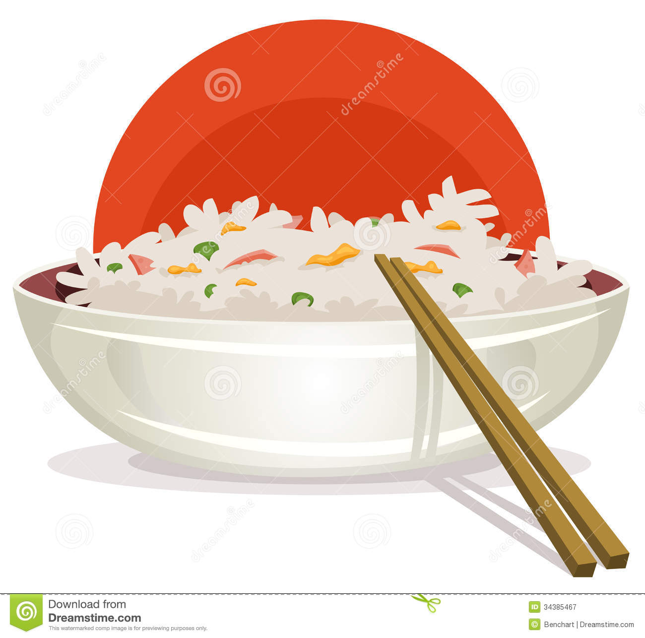 Of A Cartoon Plate Of Fried Rice With Chinese Chopsticks For Asian