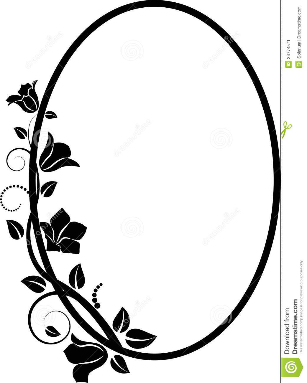 Flower Frame Line Drawing : Black oval frame clipart suggest