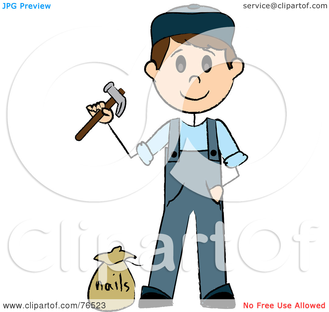 Rf  Clipart Illustration Of A Caucasian Handy Man Holding A Hammer