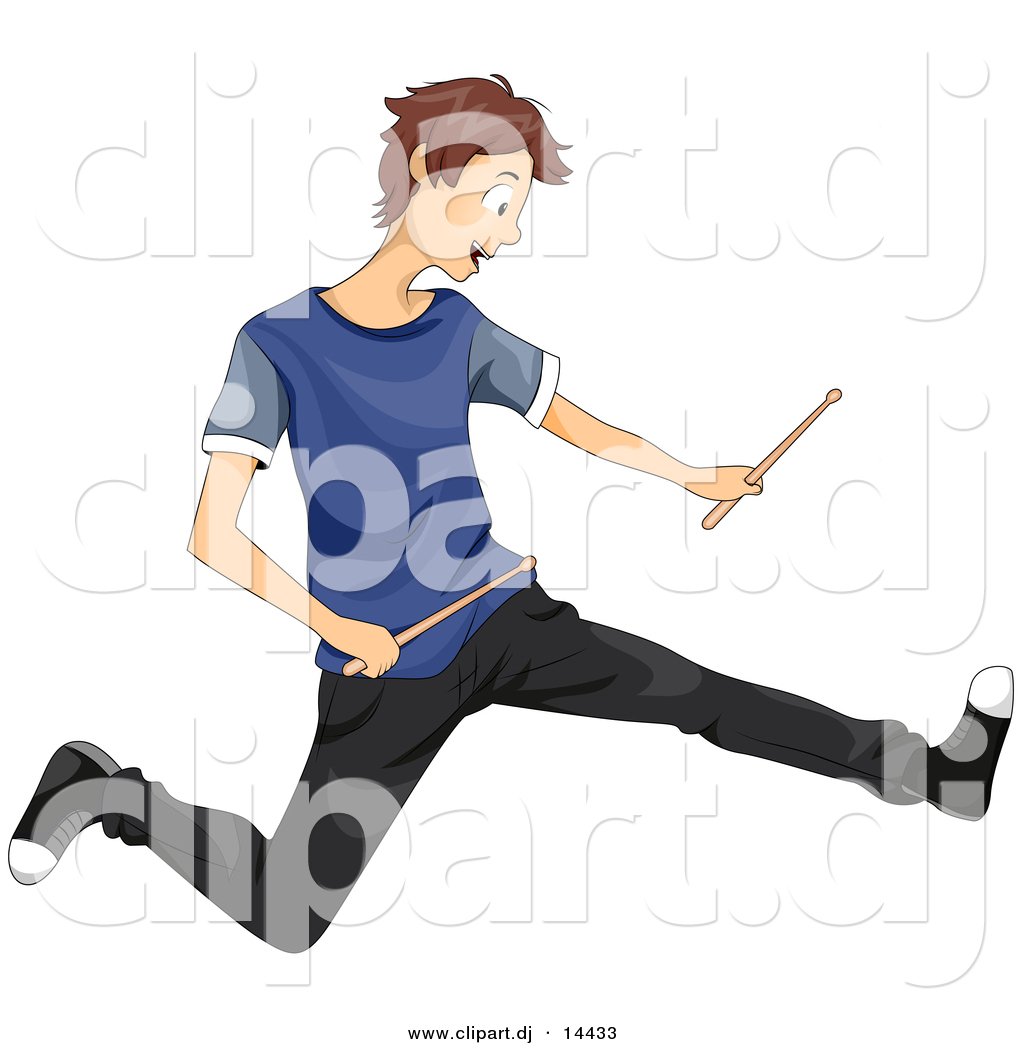 Vector Clipart Of A Cartoon Teen Boy Rocking Out With Drum Sticks