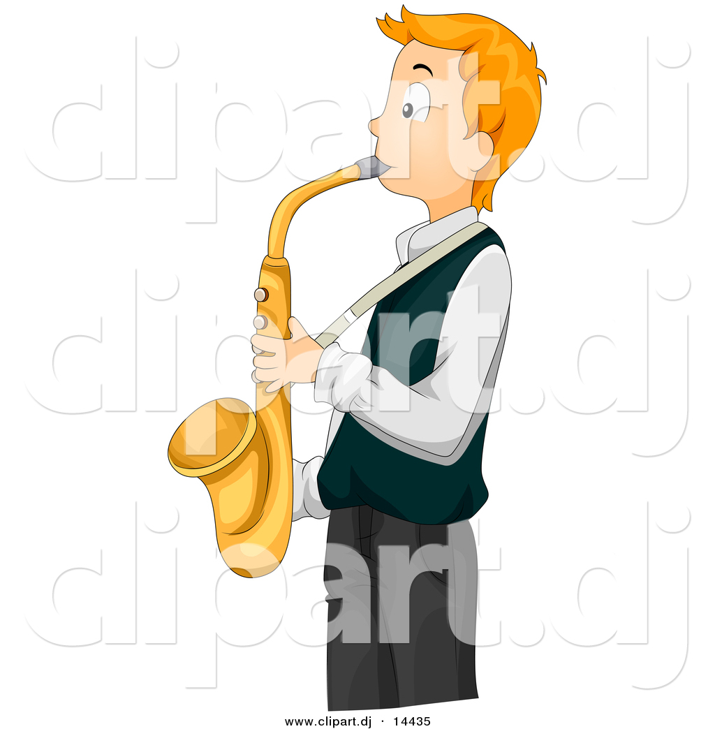 Vector Clipart Of A Teen Cartoon Boy Playing Gold Saxophone By Bnp