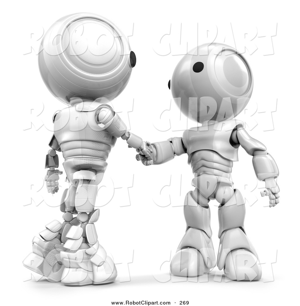3d Clipart Of A White Ao Maru Robots Shaking Hands Over A Business