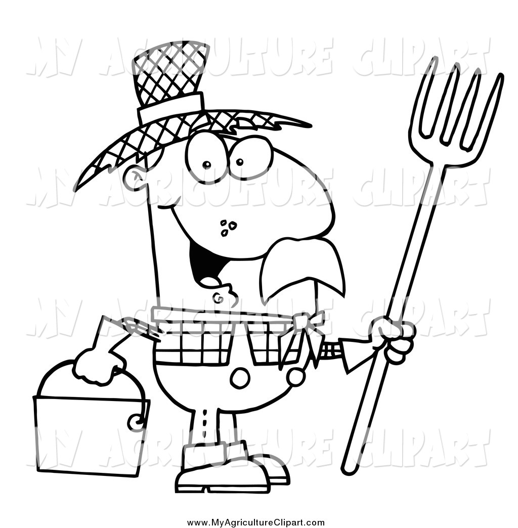 Agriculture Clipart Of A Black And White Farmer By Hit Toon    439