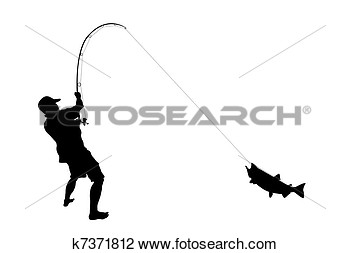 Bent Fishing Pole With The Caught Fish