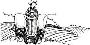 Black And White Farmer On A Tractor Clip Art Image