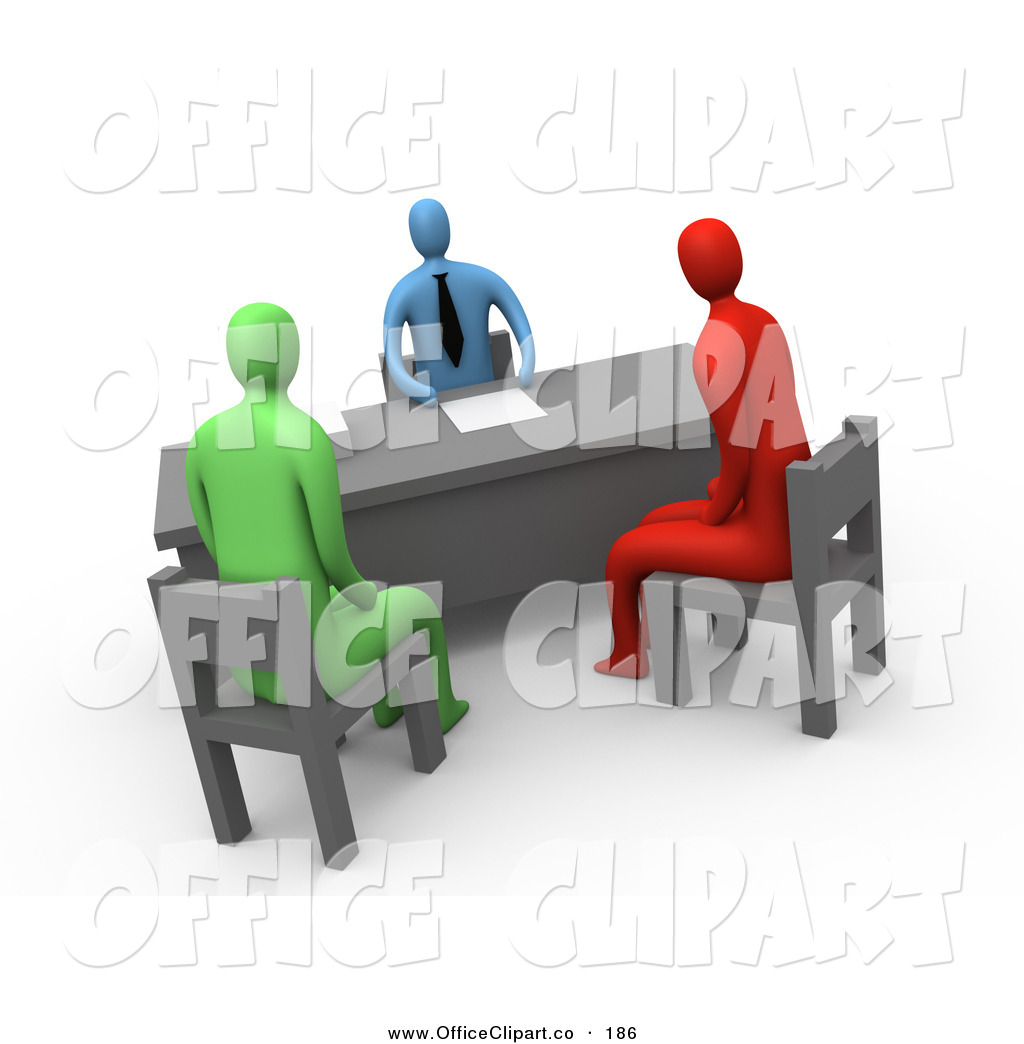 Clip Art Of A Red And A Green Person Seated In Chairs While Discussing