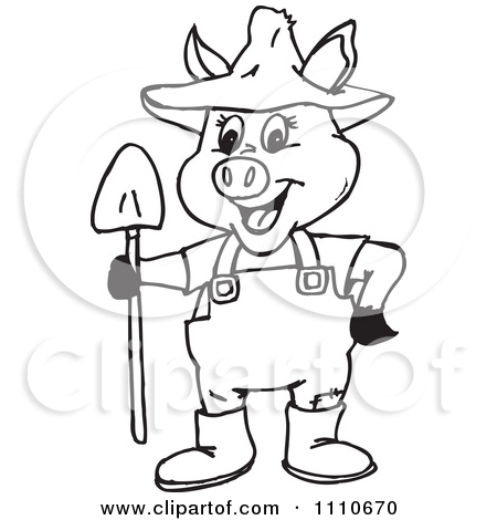 Clipart Black And White Pig Farmer   Royalty Free Illustration By