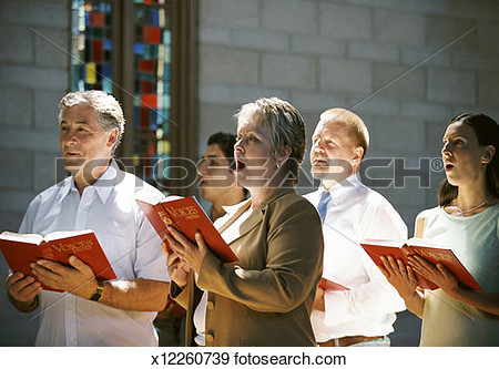 Hymn Books And Singing In A Church Congregation View Large Photo Image