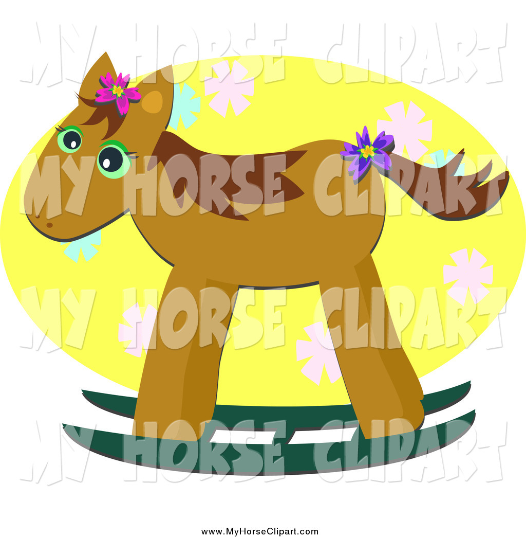 Larger Preview  Clip Art Of A Brown Rocking Horse Over A Yellow Floral