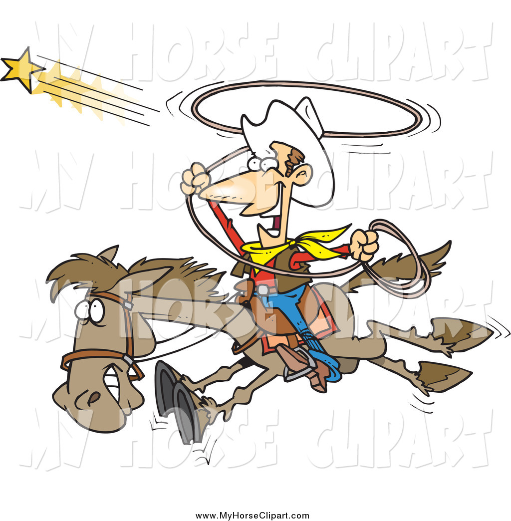 Larger Preview  Clip Art Of A Cartoon Excited Cowboy Trying To Catch A
