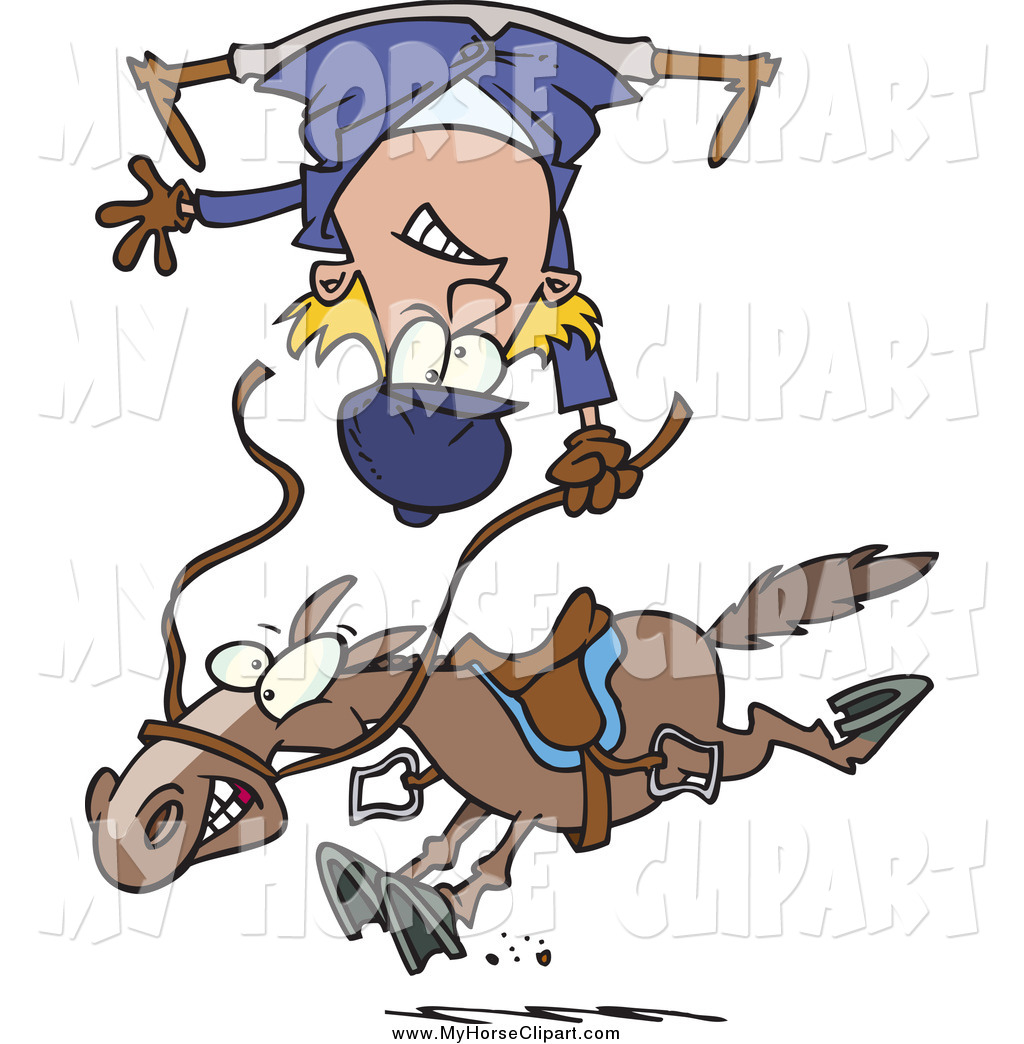 Larger Preview  Clip Art Of A Cartoon Horse Throwing A White Rider By