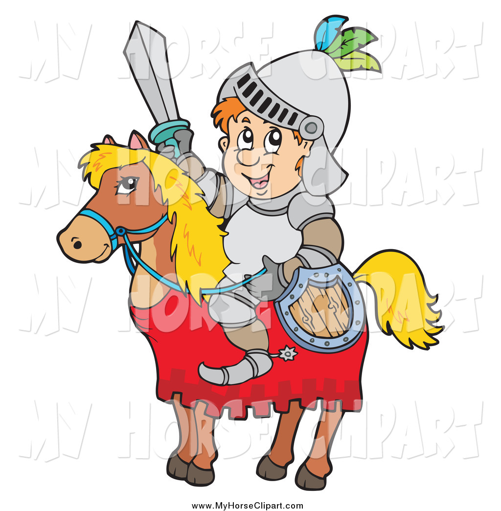 Larger Preview  Clip Art Of A Happy Knight On A Horse With A Shield