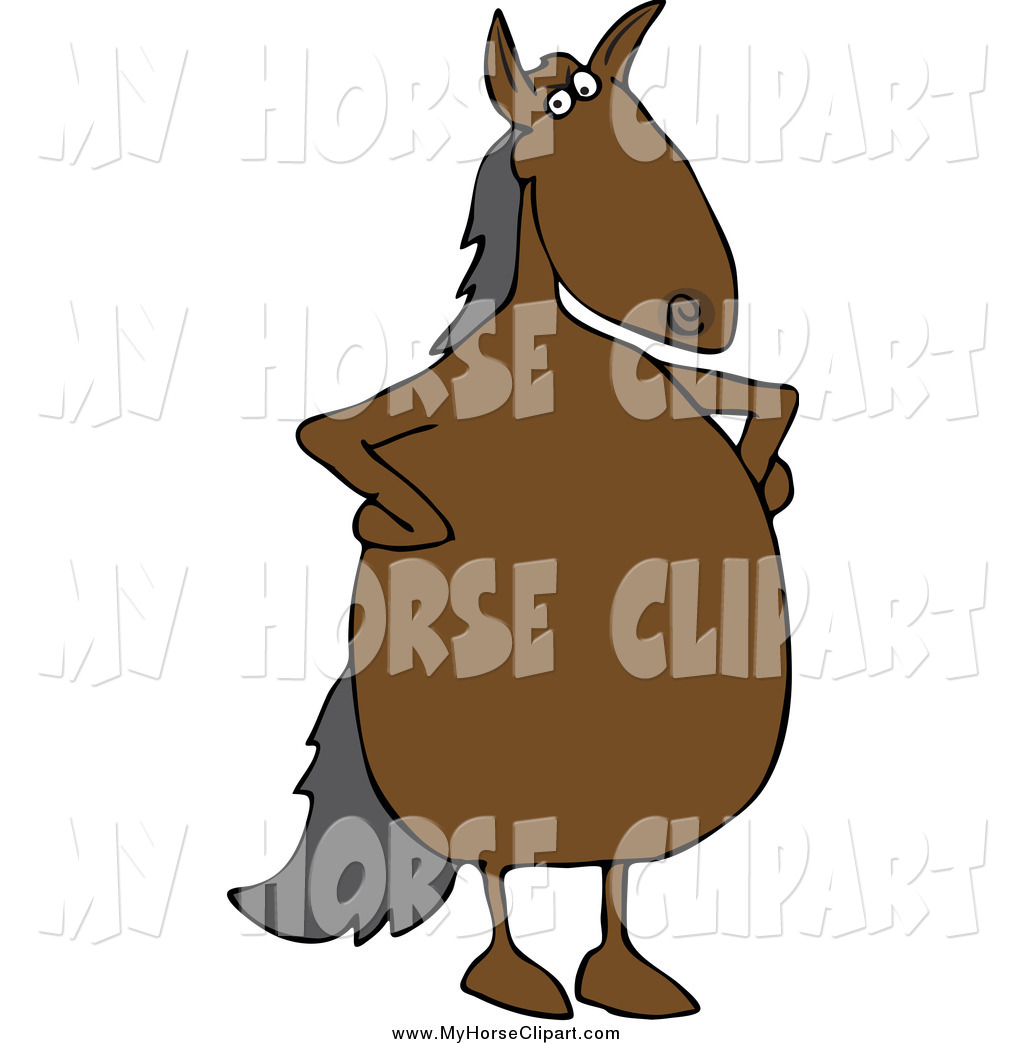 Larger Preview  Clip Art Of A Stern Brown Horse Standing Upright With