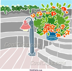 Patio With Stairs And Plants Vector Clip Art