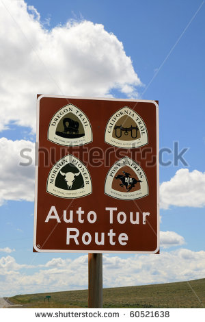 Pioneer Trail And Pony Express Auto Tour Route Sign   Stock Photo