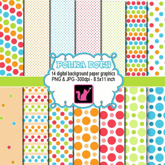 Polk A Dot Number 1 Clip Art Polka Dots Clipart Digital
