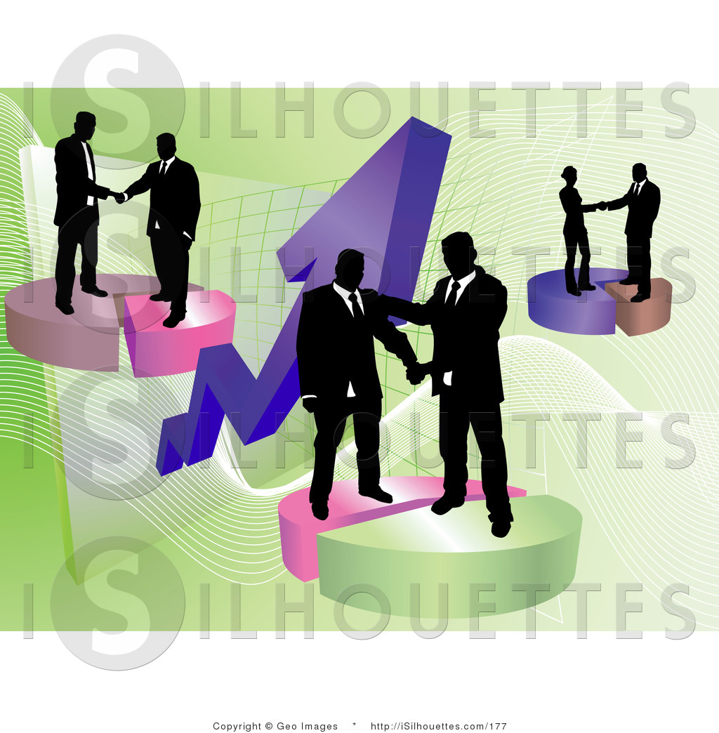 Silhouette Clipart Of Multiple Groups Of Businessmen Shaking Hands On