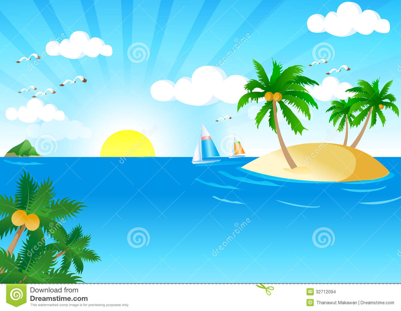 Tropical Beach Clipart Backgrounds Sunny And Sea Vector