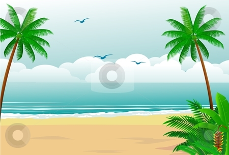 Tropical Beach Stock Vector Clipart Peaceful Tropical Forest By Surya