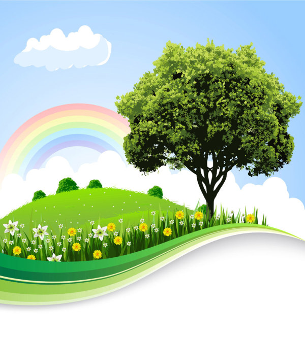 Vector Cartoon Landscape Background Free Vector About Cartoon Vector