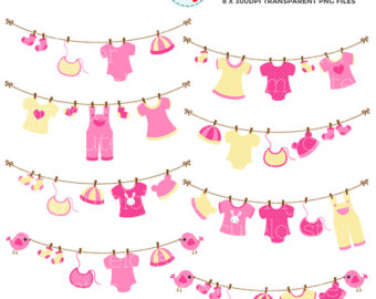 Baby Clothesline Clipart Baby Clothes Line Clipart Set
