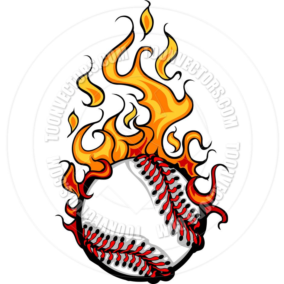 Baseball Softball Flaming Ball Vector Cartoon By Chromaco   Toon