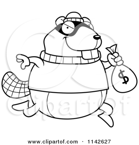 Beaver Robbing A Bank   Vector Outlined Coloring Page By Cory Thoman