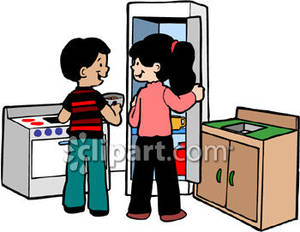 Children Playing Kitchen   Royalty Free Clipart Picture