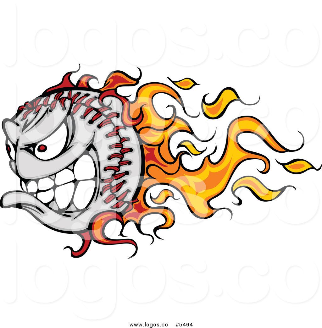 Flaming Baseball Clip Art