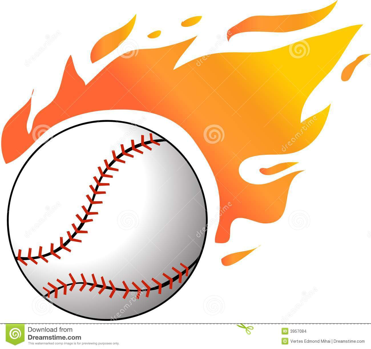 Flaming Baseball Clipart - Clipart Kid