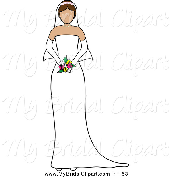 Bridal Clipart Of A Caucasian Faceless Brunette Bride Holding Her