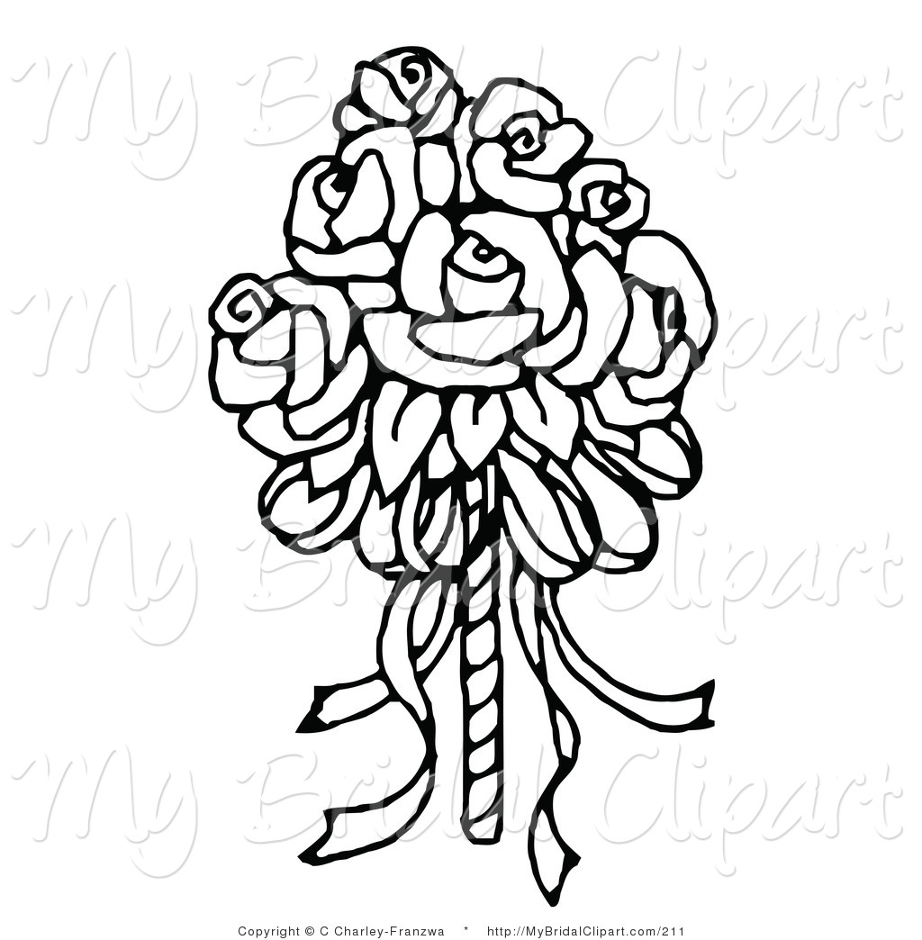 Bridal Clipart Of A Coloring Page Of A Bridal Bouquet Of Roses By C