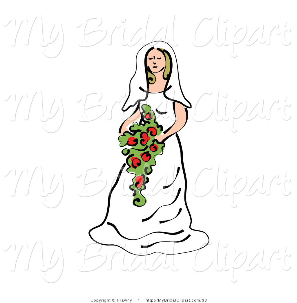 Bridal Clipart Of A Pretty Bride In A White Gown Holding A Large