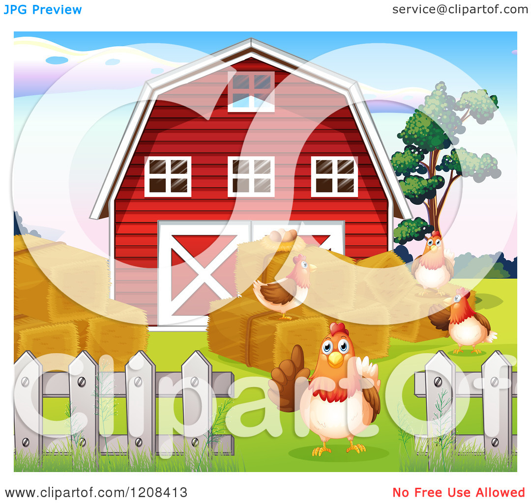 Cartoon Of A Red Barn With Hay And Hens Royalty Free Vector Clipart