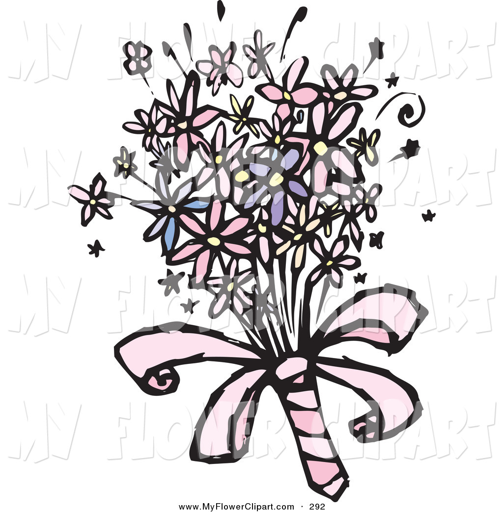 Clip Art Of A Colorful Spring Bridal Bouquet Outline By Steve Klinkel
